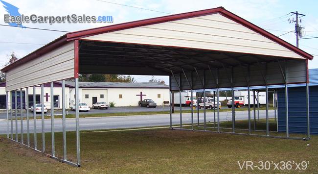 Vertical Roof Triple Wide Carport 30x36x9